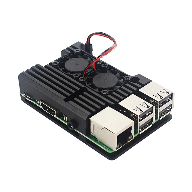 ROWEQPP Replacement for Raspberry Pi 4 Aluminum Metal Case Box with Dual Fan Heat Sink with Fan
