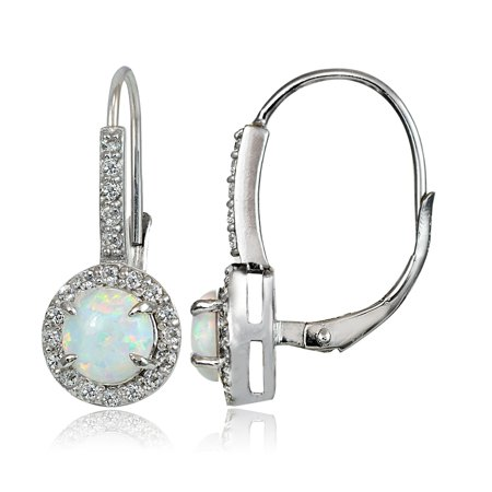 Sterling Silver Created White Opal and White Topaz Round Leverback Earrings Created Opal Leverback Earrings