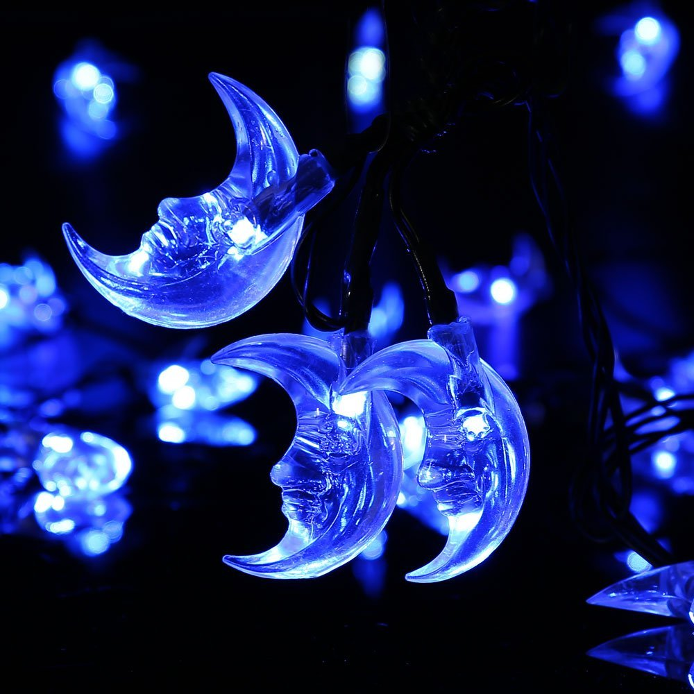 Qedertek LED Christmas lights Moon Solar String Lights,20ft 30LED Fairy Decorative Christmas Lights for Outdoor,Garden,Home,Wedding,Party and Holiday Decorations(Blue)