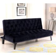 A Line Furniture Xnron Button Tufted Black Velvet Sofa Bed Lounger with Nailhead Trim