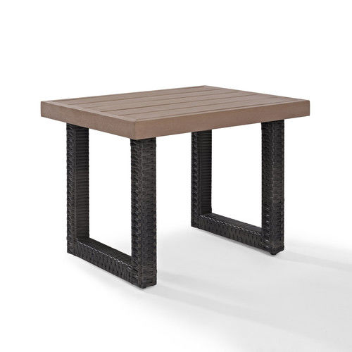 Crosley Furniture CO7229-BR Beaufort Faux Wood Outdoor Side Table (Brown)