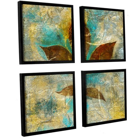 "ArtWall Elena Ray ""Branch With Golden Leaves"" 4-Piece Floater-framed Canvas Square Set"