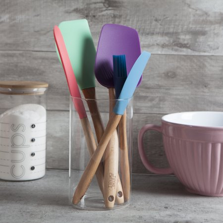 Thyme & Table Silicone & Beechwood Cooking Tool Set, 5 Piece