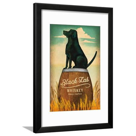 Black Lab Whiskey Retro Dog Liquor Ad Framed Print Wall Art By Ryan Fowler (Ad Calvert Whiskey)