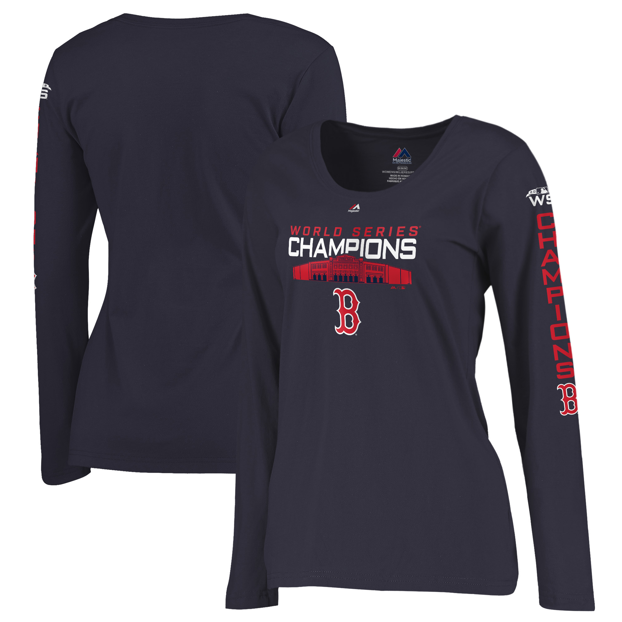 Boston Red Sox Majestic Women's 2018 World Series Champions Local Hero Plus Size Long Sleeve T-Shirt - Navy