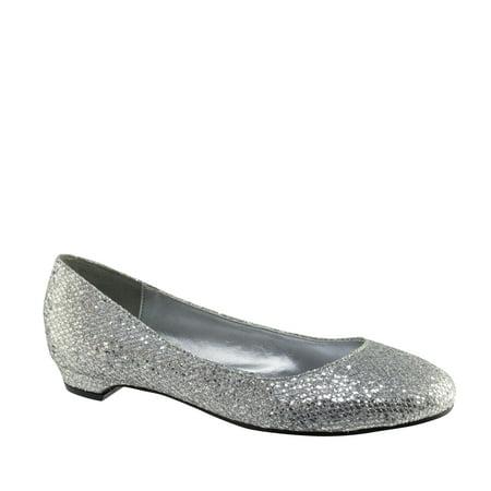 Image of Touch Ups Womens Tamara Flat, Silver Glitter,7.5 M US