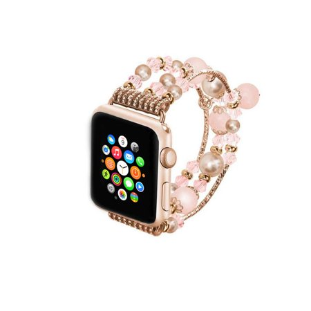 Jeweled Replacement - Jeweled Replacement Band for Apple Watch Series 1,2,&3-Rose Gold and Purple 38MM