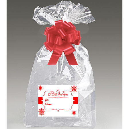 Bows And Bags (2pack 30x 40 Cellophane Gift Basket Bags with Bow and Red / White Snowflakes)