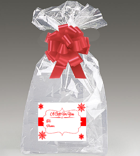 2pack 30x 40 Cellophane Gift Basket Bags with Bow and Red / White Snowflakes Stickers