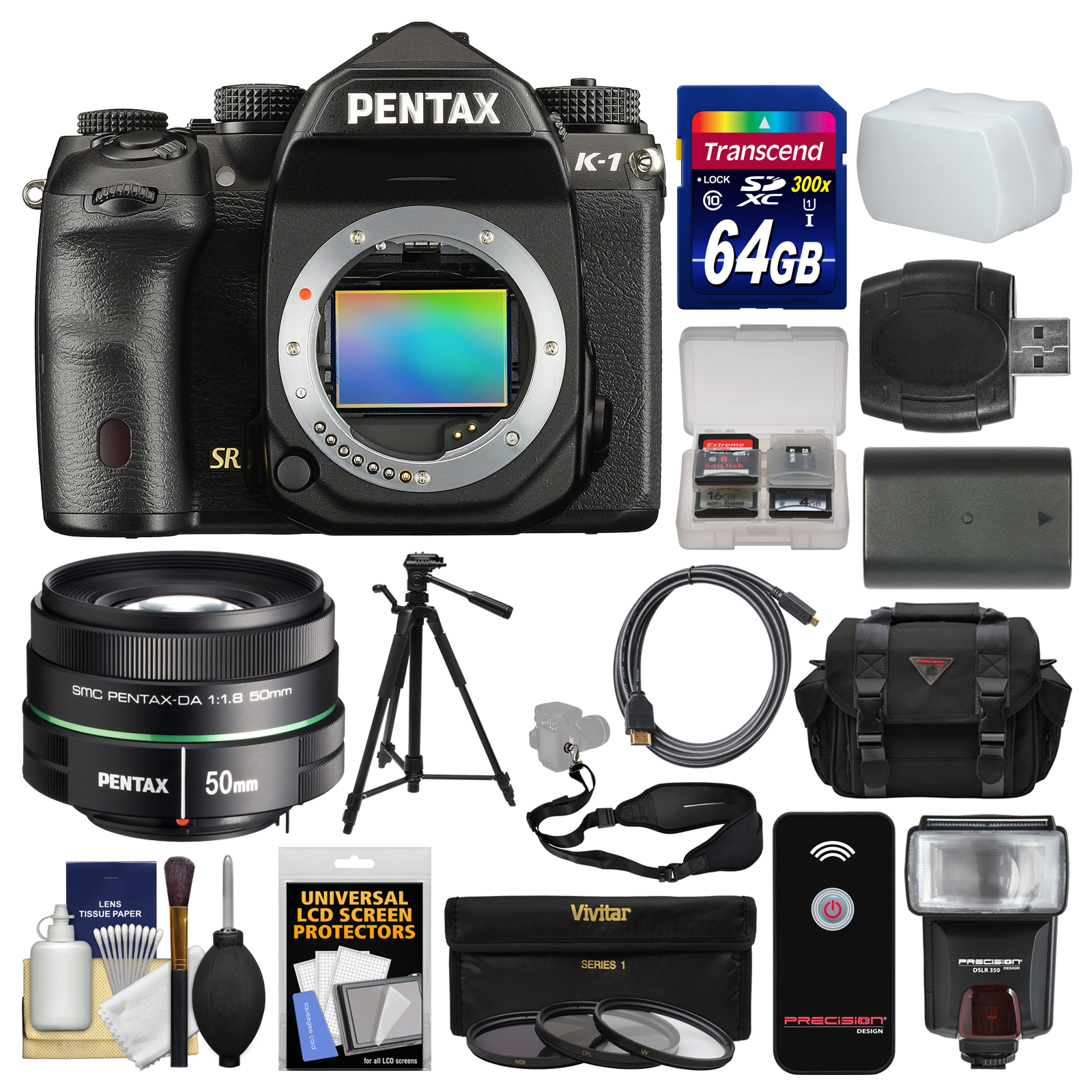 Pentax K-1 Full Frame Wi-Fi Digital SLR Camera Body with 50mm f 1.8 DA SMC Lens + 64GB Card + Case + Flash +... by Pentax