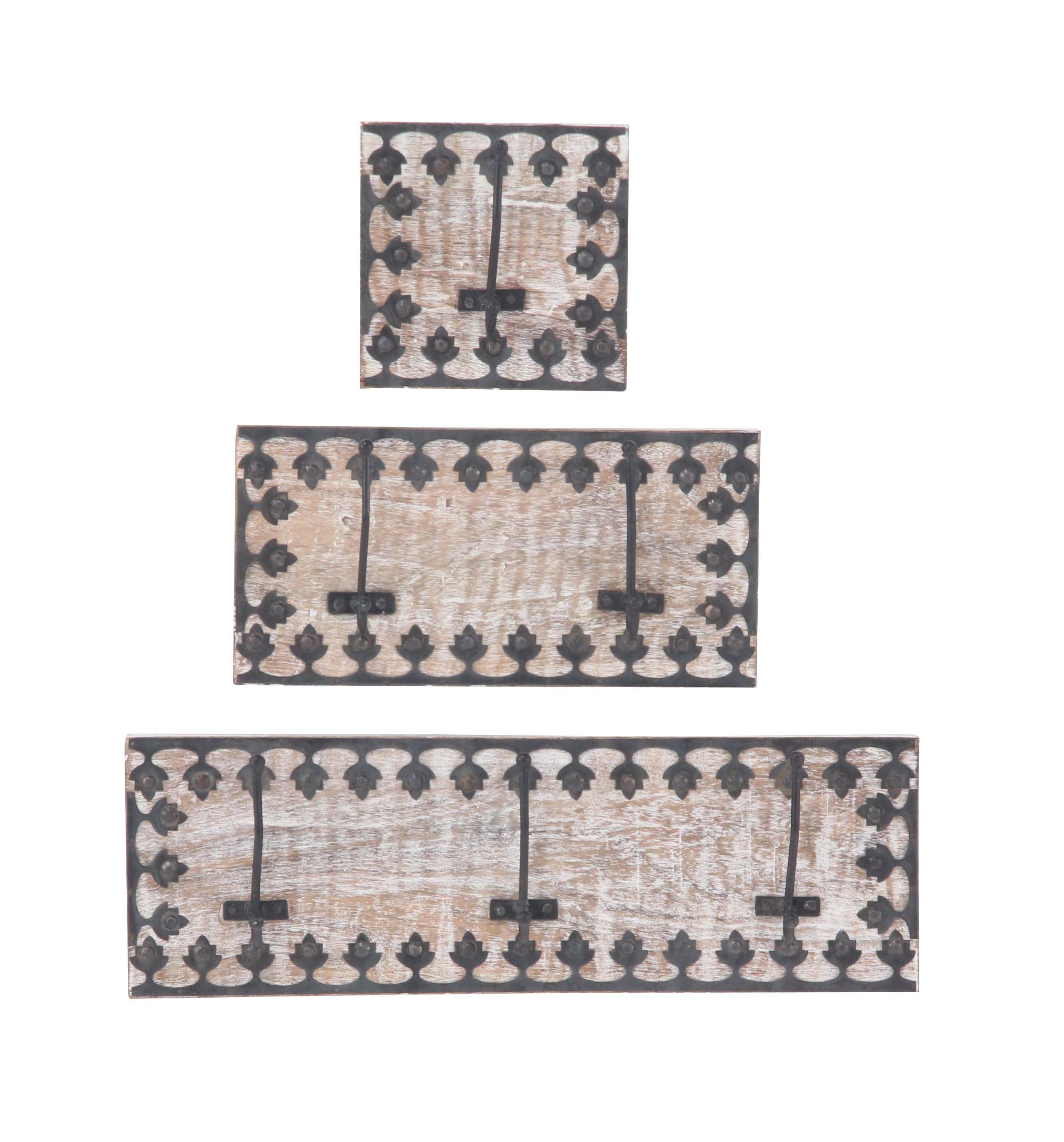 Decmode Set of 3 Mango Wood and Iron Ornate Framed Wall Hooks, Black
