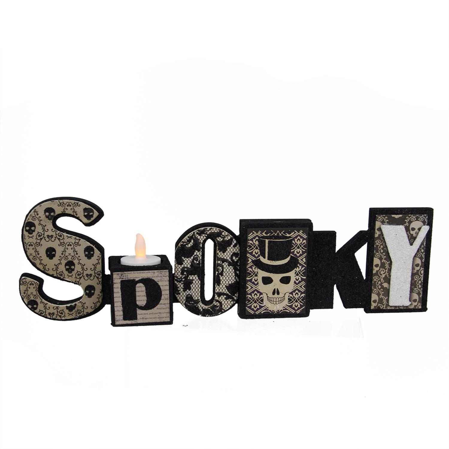 "14"" Black and White Glittered ""Spooky"" Halloween Candle Holder by Allstate"