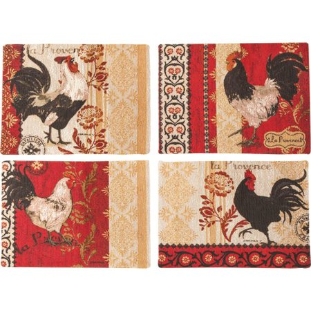 Manual Woodworkers & Weavers La Provence Rooster BKD 4 Piece Placemat Set