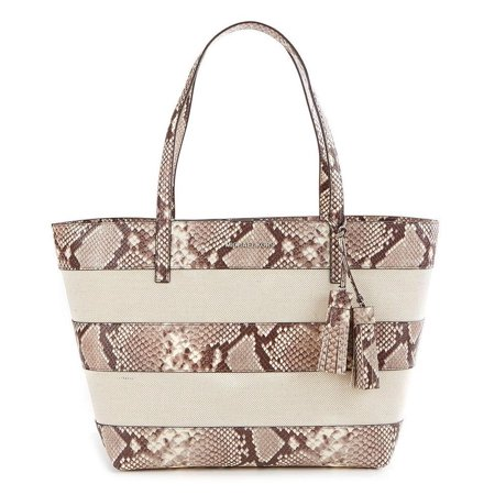ad8ad6807a9f Michael Kors - NWT $368 MICHAEL KORS Striped Leather Canvas Large East West  Tote Natural Python - Walmart.com