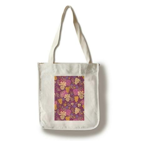 Wine Grapes & Leaves Pattern - Lantern Press Artwork (100% Cotton Tote Bag - Reusable)