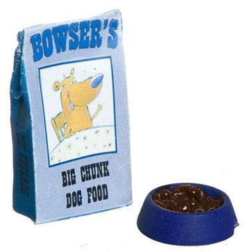 Dollhouse Dog Food Bag, Filled Bowl
