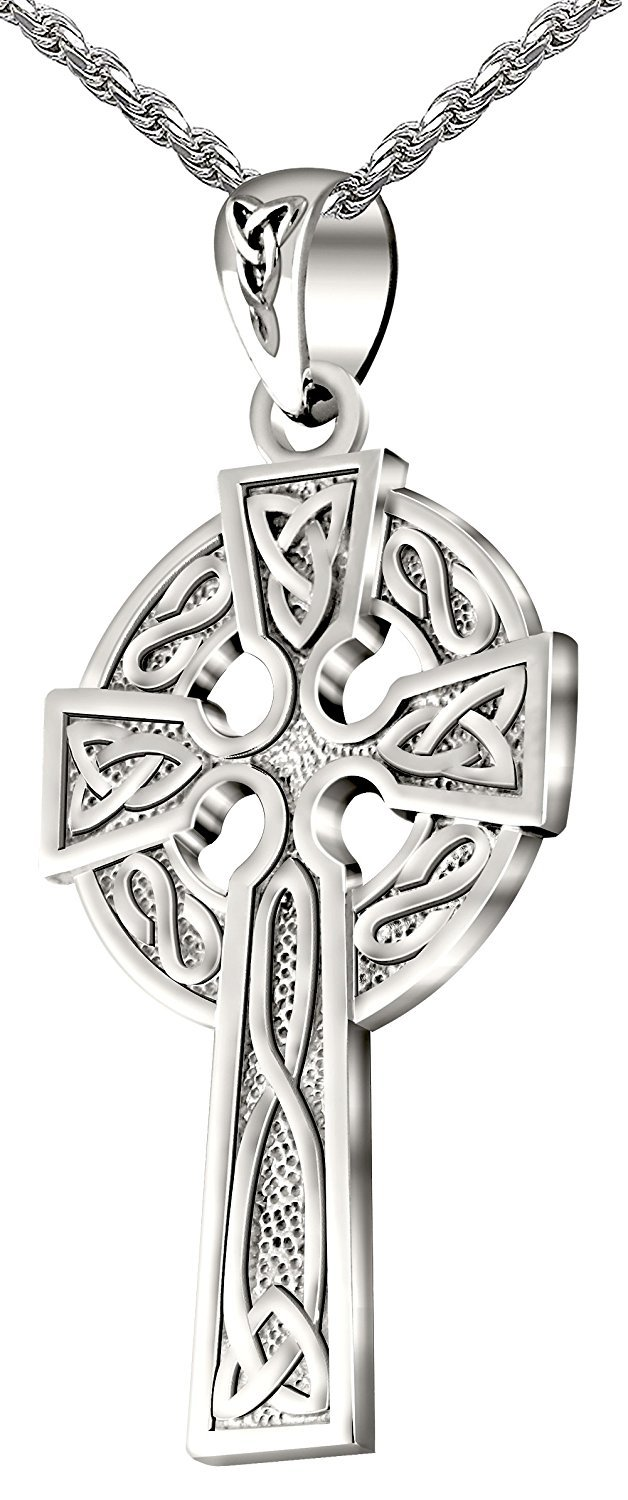 Sterling Silver Synthetic Opal Celtic Cross Necklace for Women CZ Accent 1 3//16 inch w// 1mm Rope Chain