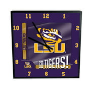 LSU Go Team Square Clock