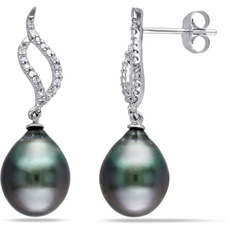 9-9.5mm Black Drop Tahitian Pearl and Diamond Accent 10kt White Gold Swirl (Gold Diamond Accent Pearl)
