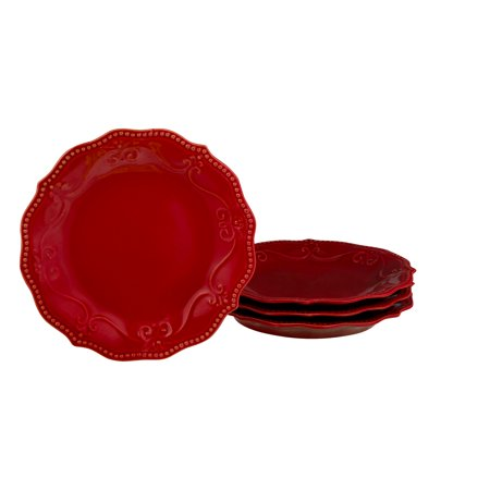 (The Pioneer Woman Paige Transparent Glaze Salad Plate Red - 4 PK, 4.0 PACK)
