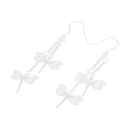 Unique Bargains Silver Tone Hollow Dragonfly Accent Dangling Eardrop Ear Hook Earrings Pair Dragonfly Hook Dangle Earrings
