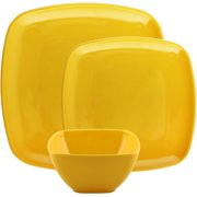 Melange 12-Piece 100% Melamine Square Dinnerware Set (Squares Solid)|Shatter-Proof and Chip-Resistant Melamine Square Plates and Bowls|Dinner Plate, Salad Plate & Soup Bowl (4 Each)|Color:Yellow