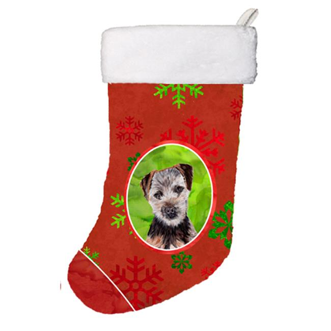 Carolines Treasures SC9759-CS Norfolk Terrier Puppy Red Snowflakes Holiday Christmas Stocking, 11 x 8 In. - image 1 of 1