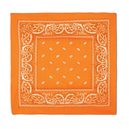 Club Pack of 12 Orange and White Western Paisley Bandana Costume Accessories 22
