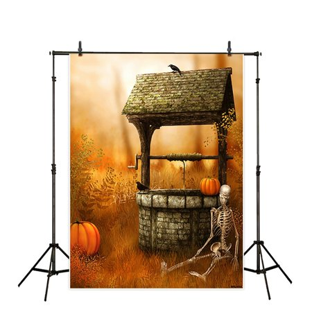 HelloDecor Polyester Fabric Halloween 5x7ft Theme terror party Backdrop background Computer Printed photography pumpkin Skeleton well skull well photo studio backdrops prop wallpaper mural (Ipad Wallpaper Hd Halloween)