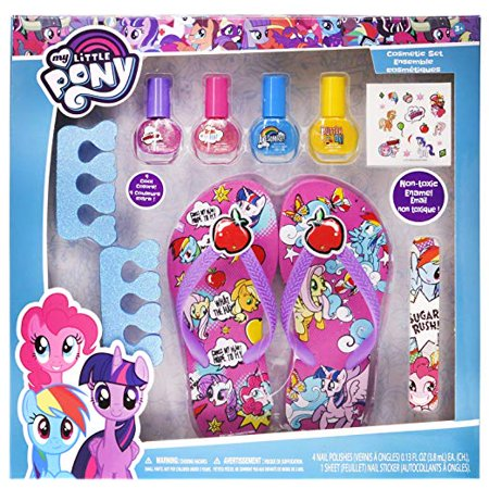 My Little Pony Spa Day Set, Includes 4 Nail Polish, Flip Flops (Girls 10-11) and Toe Separator, 10 CT