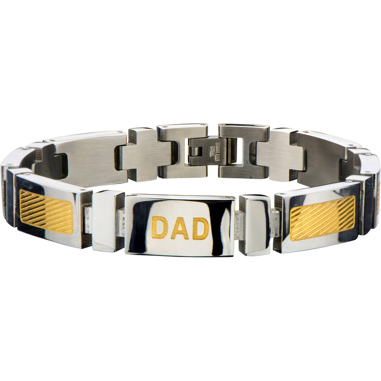 Steel Art Men's Stainless Steel Gold IP DAD Engraved and Steel Link Bracelet