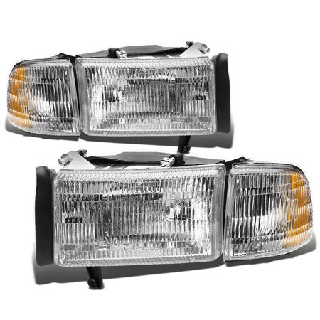 For 1994 to 2002 Dodge Ram 1500 2500 3500 OE Style Headlight Chrome Housing Clear Corner Headlamp 95 96 97 98 99 00 01 4Pcs Left+Right