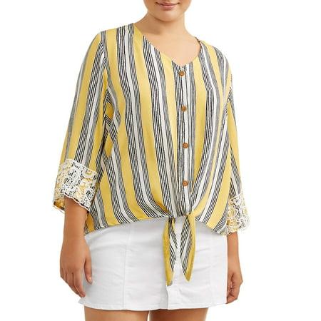 Juniors' Plus Size Crochet Trimmed Tie Front Blouse ()
