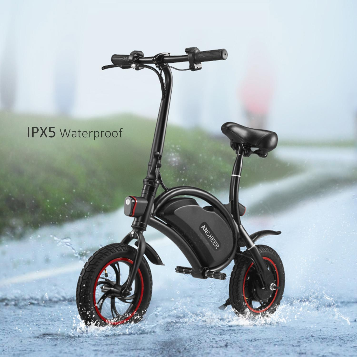 Lowest Price Ever! ANCHEER 12''APP Control Folding Electric Bike Bluetooth System 350W 36V 6AH Lithium Battery Smart Electric Mountain Bicycle With Automatic Headlight