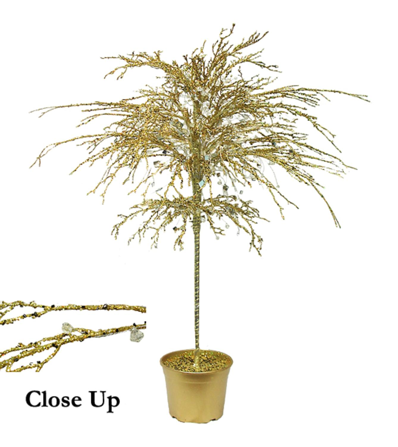 "46"" Gold Crystallized Glitter Potted Holiday Tree - Miroirs et Perles"