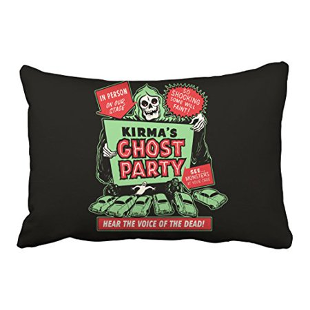 WinHome Vintage Popular Happy Halloween Spook Show Poster Art Ghost Party Polyester 20 x 30 Inch Rectangle Throw Pillow Covers With Hidden Zipper Home Sofa Cushion Decorative Pillowcases](20 30 Halloween Party Napa)