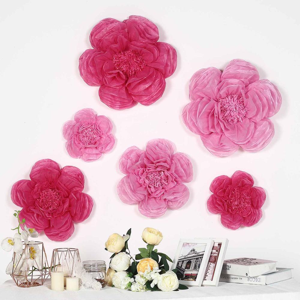 "Efavormart 6 Pack Assorted Size Giant Paper Peony Flowers Decor for Centerpieces Arrangement Party  - 12"" | 16"" | 20"