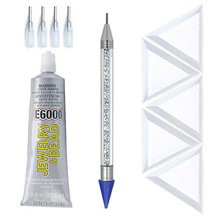 E6000 1-Ounce Jewelry and Bead Adhesive with 4 Precision Applicator Tips for Jewelry, Pixiss 6-inch Jewel Picker Setter Pickup Tool, 5X Triangle Bead Trays Wax Pencil Rhinestone Applicator Kit