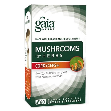 Gaia Herbs Mushrooms Plus Herbs Cordyceps Vegan Capsules  60 Ct