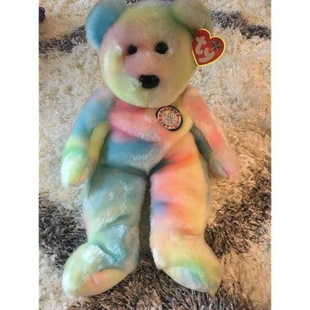 Ty Beanie Buddies B.B. Tie Dye Birthday Bear 2000