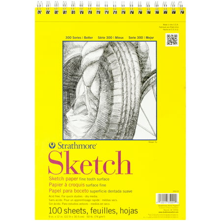 Strathmore 300 Series Sketch Pad, 9 x 12 Inches, 50 lb, 100 Sheets