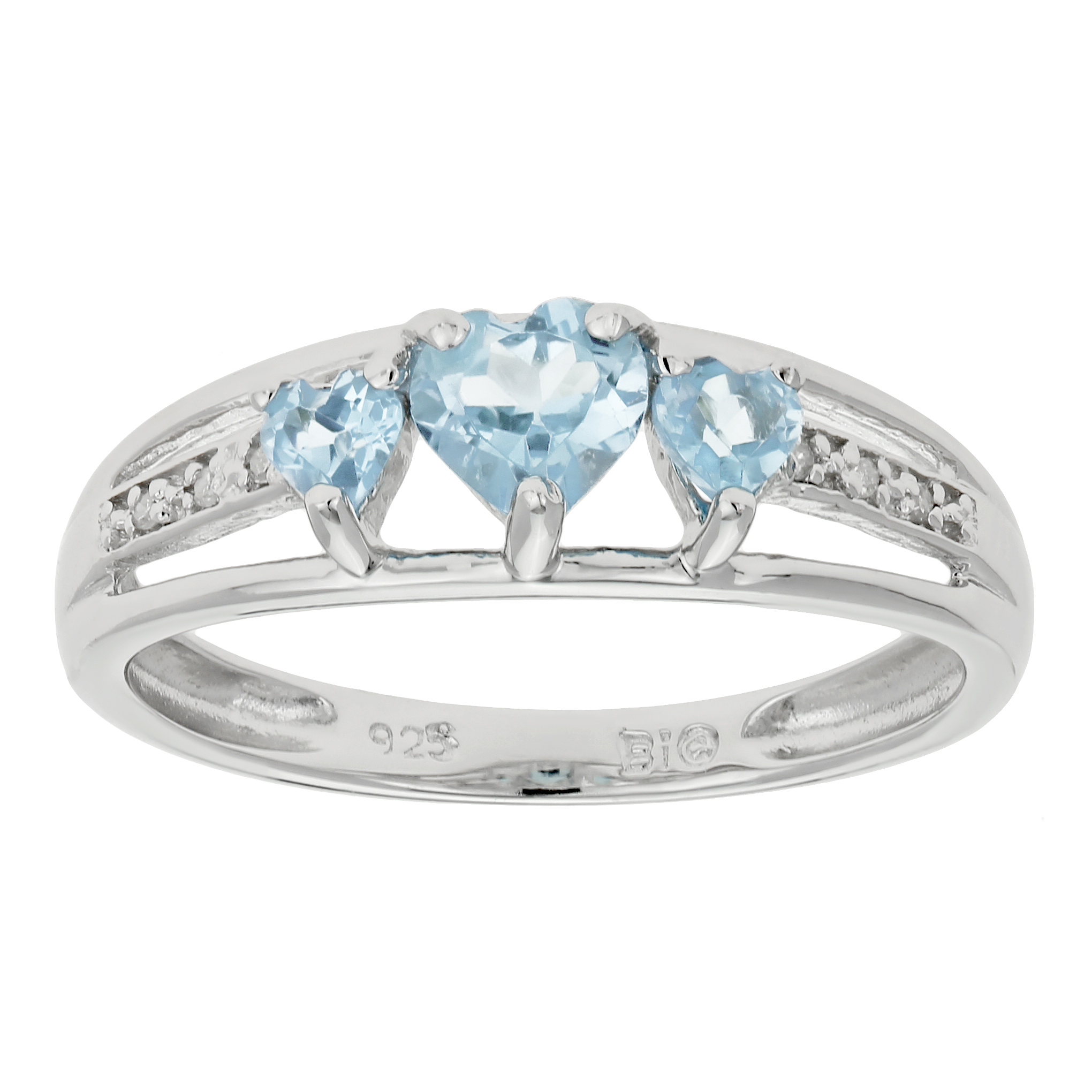 .50 Ct Triple Heart Sky Blue Aquamarine White Topaz 925 Sterling Silver Ring by Metro Jewelry