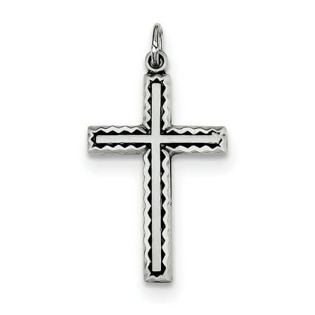 Sterling Silver Antiqued Cross Charm QC5832 (27mm x 16mm) - image 3 de 3