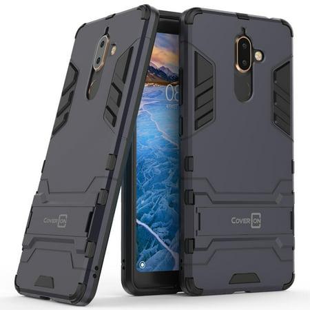 Silver Nokia Pouch - CoverON Nokia 7 Plus Case, Shadow Armor Series Hybrid Kickstand Phone Cover