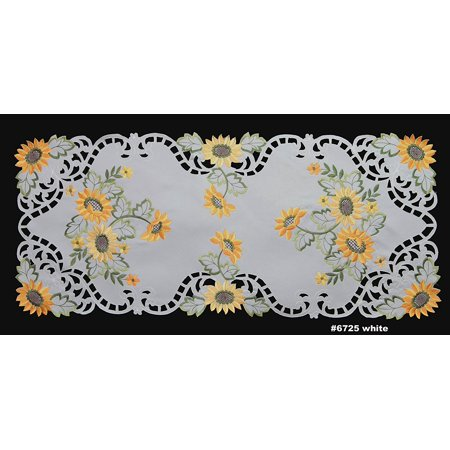 """Sunflower Table Runner 15x34"""" Embroidered Cutwork Dresser Scarf WhiteMatching placemats, table runners, toppers & tablecloths in different.., By Creative Linens"""
