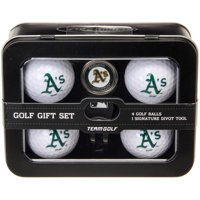 Team Golf MLB Oakland Athletics Regulation Size Golf Balls (4 Count) & Divot Tool with Removable Double-Sided Magnetic Marker