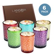 LANGRIA Set of 6 Aromatherapy Scented Candles Better Home And Garden In A Jar Glass Made of Organic 100% Soy Wax With Gift Box