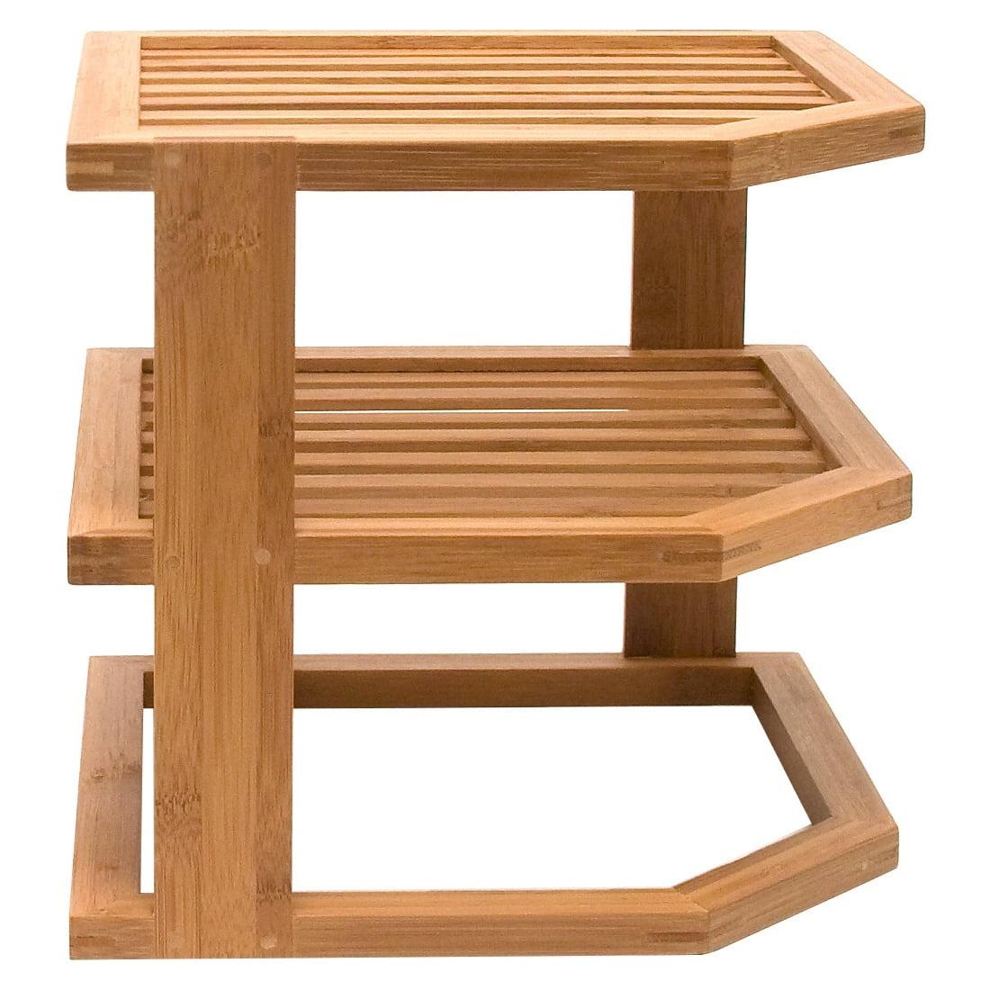 "Lipper Bamboo Three-tier Corner Shelf - Cabinet - 9.5"" Height X 10"" Width X 10"" Depth - 3 Tier[s] - Bamboo - Brown (8883_2_1)"