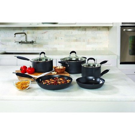 Allrecipes 8 Piece Hard Anodized Non Stick Cookware Set