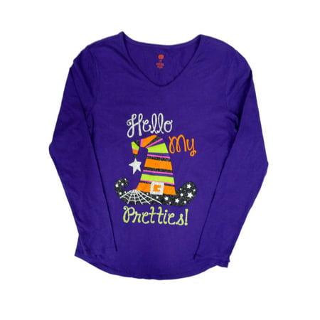 Happy Halloween Women Purple Hello My Pretties T-Shirt Glitter Witch Hat S